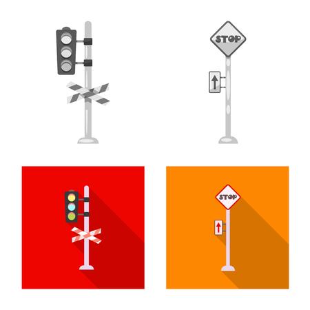 列車と駅の標識のベクトル設計。ストック用の列車とチケットベクトルアイコンのセット。
