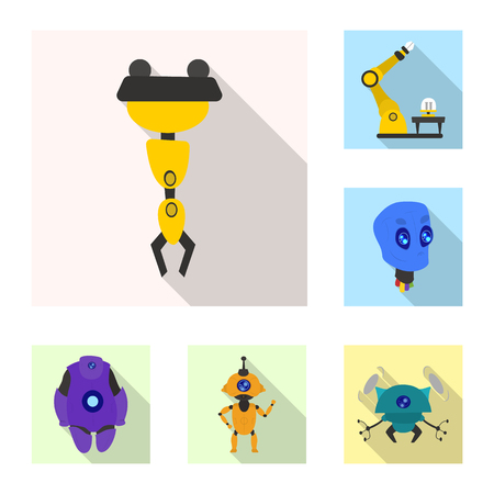 Vector illustration of robot and factory logo. Set of robot and space stock vector illustration. Ilustrace