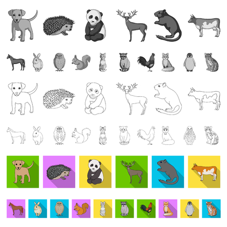 Realistic animals flat icons in set collection for design. Wild and domestic animals vector symbol stock web illustration. Illustration