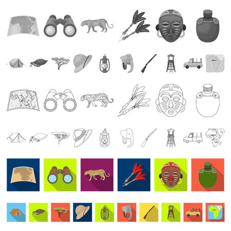 African Safari flat icons in set collection for design. Trophies and equipment for Safari vector symbol stock web illustration. Stock Illustratie