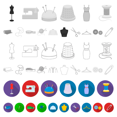 Atelier and sewing flat icons in set collection for design. Equipment and tools for sewing vector symbol stock web illustration.