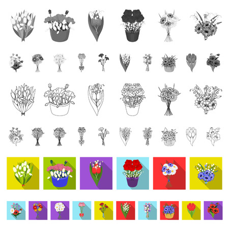 Un bouquet di fiori freschi icone piatte nella raccolta di set per il design. Vari mazzi di fiori simbolo d'archivio web illustrazione di vettore.