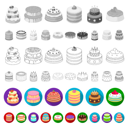 Cake and dessert flat icons in set collection for design. Holiday cake vector symbol stock web illustration. Illustration