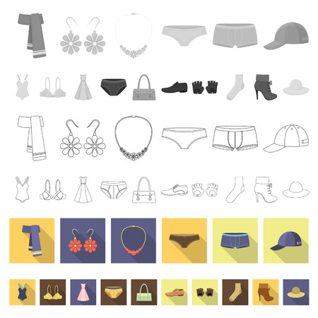 Clothes and accessories flat icons in set collection for design. Shoes and decoration vector symbol stock illustration. Illustration