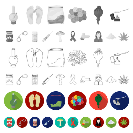 Drug addiction and attributes flat icons in set collection for design. Addict and Drug vector symbol stock web illustration.