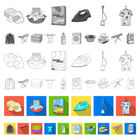Dry cleaning equipment flat icons in set collection for design. Washing and ironing clothes vector symbol stock web illustration. Illustration