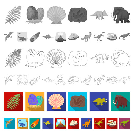 Different dinosaurs flat icons in set collection for design. Prehistoric animal vector symbol stock  illustration.