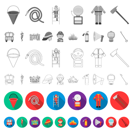 Fire Department flat icons in set collection for design. Firefighters and equipment vector symbol stock  illustration.