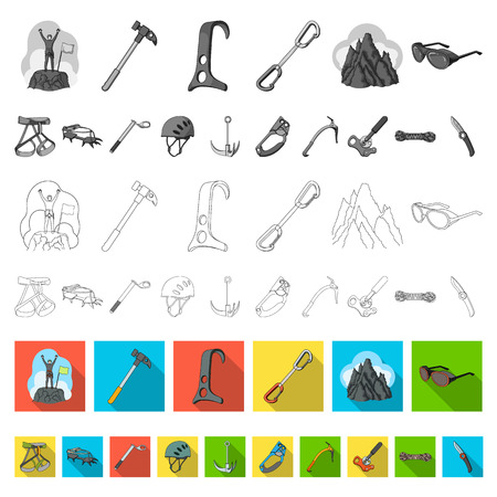 Mountaineering and climbing flat icons in set collection for design. Equipment and accessories vector symbol stock  illustration. Reklamní fotografie - 109861674