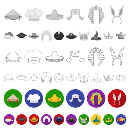 Different kinds of hats flat icons in set collection for design.Headdress vector symbol stock  illustration. Illustration