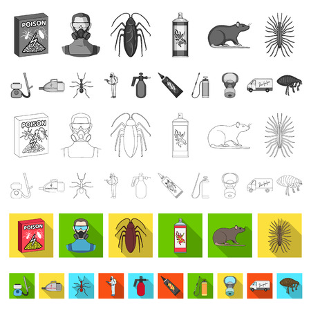 Pest, poison, personnel and equipment flat icons in set collection for design. Pest control service vector symbol stock illustration. Illustration