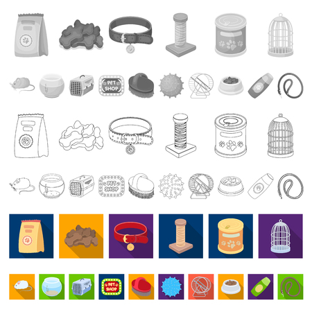 Pet shop flat icons in set collection for design.The goods for animals vector symbol stock  illustration.