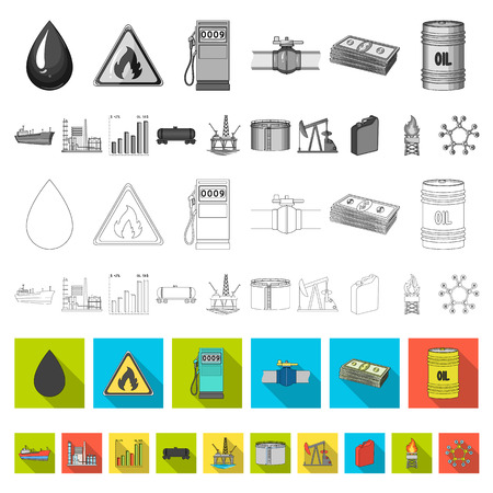 Oil industry flat icons in set collection for design. Equipment and oil production vector symbol stock  illustration.
