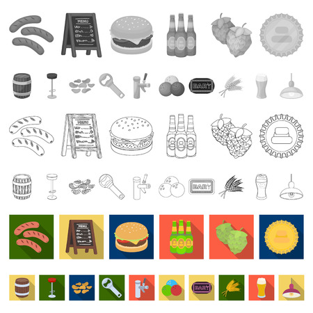 Pub, interior and equipment flat icons in set collection for design. Alcohol and food vector symbol stock  illustration. Vettoriali