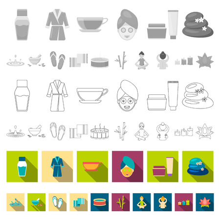 Spa salon and equipment flat icons in set collection for design. Relaxation and rest vector symbol stock  illustration.