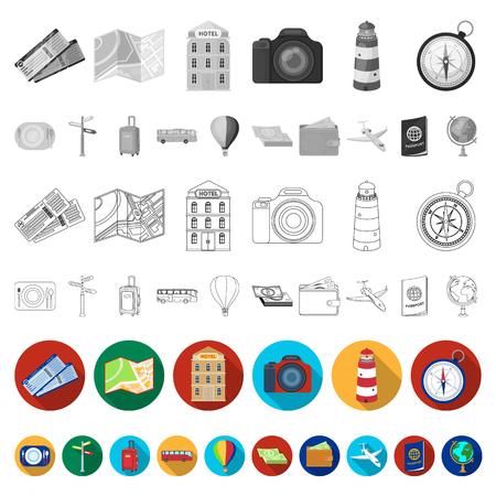 Rest and travel flat icons in set collection for design. Transport, tourism vector symbol stock  illustration. Illustration