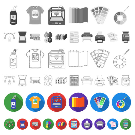 Typographical products flat icons in set collection for design. Printing and equipment vector symbol stock  illustration.