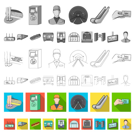 Metro, subway flat icons in set collection for design.Urban transport vector symbol stock  illustration. Illustration