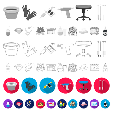 Tattoo, drawing on the body flat icons in set collection for design. Tattoo salon and equipment vector symbol stock web illustration. Illustration
