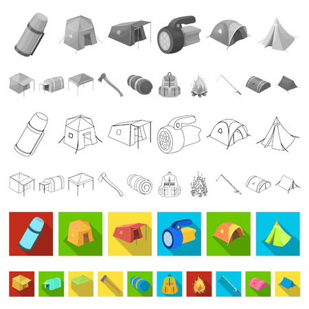 Verschiedene Arten von flachen Ikonen der Zelte in der Satzsammlung für Design. Temporäre Schutz- und Wohnungsvektorsymbolvorrat-Netzillustration.