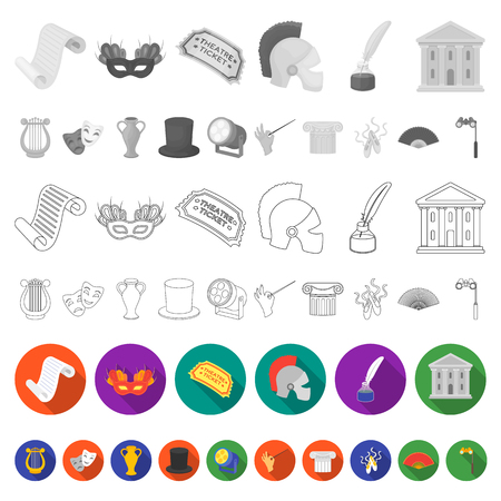 Theatrical art flat icons in set collection for design.Theater equipment and accessories vector symbol stock  illustration. Illustration
