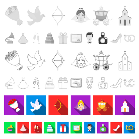 Wedding and Attributes flat icons in set collection for design.Newlyweds and Accessories vector symbol stock  illustration.