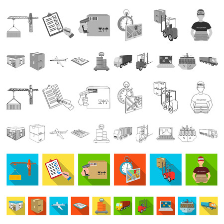 Logistics and delivery flat icons in set collection for design. Transport and equipment isometric vector symbol stock  illustration.