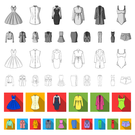 Types of female hairstyles flat icons in set collection for design. Appearance of a woman vector symbol stock illustration.