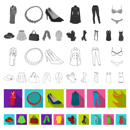Women Clothing flat icons in set collection for design.Clothing Varieties and Accessories vector symbol stock illustration.