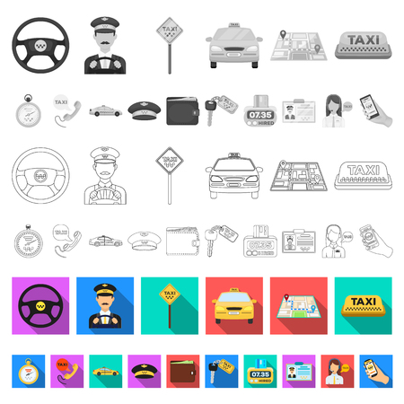 Taxi service flat icons in set collection for design. Taxi driver and transport vector symbol stock  illustration. Stock Photo