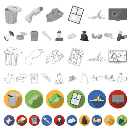 Garbage and waste flat icons in set collection for design. Cleaning garbage vector symbol stock  illustration. Stock Photo
