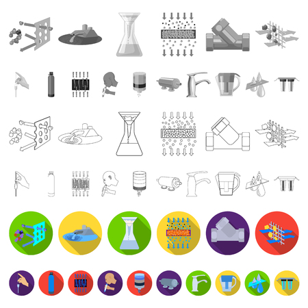 Water filtration system flat icons in set collection for design. Cleaning equipment vector symbol stock  illustration. Stock Photo