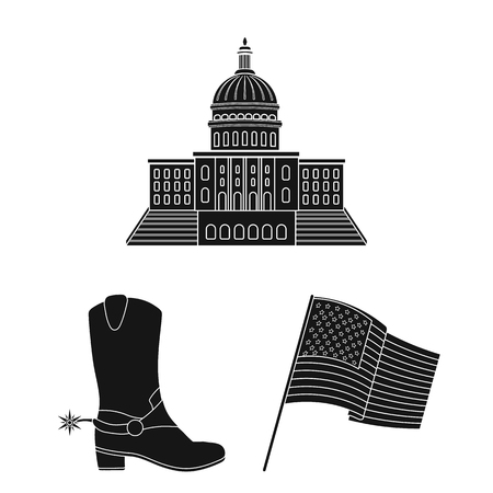 USA country black icons in set collection for design.Travel and attractions bitmap symbol stock web illustration.