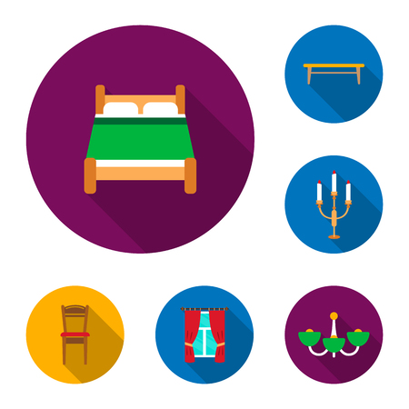Furniture and interior flat icons in set collection for design.Home furniture bitmap symbol stock web illustration. Foto de archivo