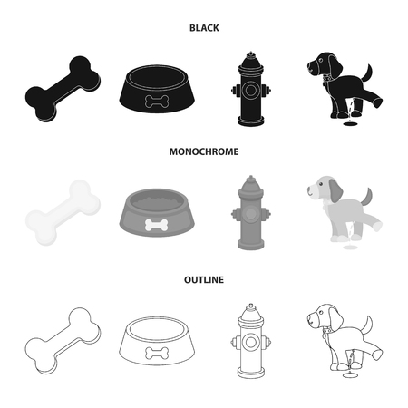 A bone, a fire hydrant, a bowl of food, a pissing dog.Dog set collection icons in black,monochrome,outline style bitmap symbol stock illustration .