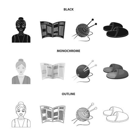 An elderly woman, slippers, a newspaper, knitting.Old age set collection icons in black,monochrome,outline style bitmap symbol stock illustration . Stock Photo