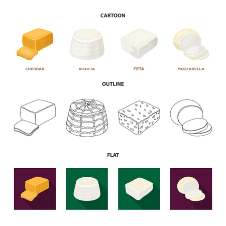 Mozzarella, feta, cheddar, ricotta.Different types of cheese set collection icons in cartoon,outline,flat style bitmap symbol stock illustration . Фото со стока