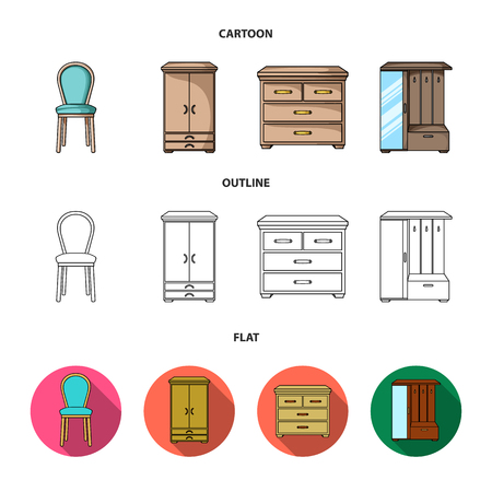 Armchair, cabinet, bedside, table .Furniture and home interiorset collection icons in cartoon,outline,flat style bitmap symbol stock illustration . Stock Illustration - 109882230