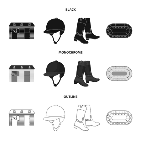 Boots, grass, stadium, track, rest .Hippodrome and horse set collection icons in black,monochrome,outline style bitmap symbol stock illustration . Banco de Imagens