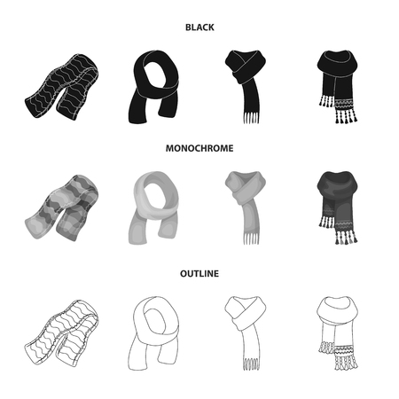 Various kinds of scarves, scarves and shawls. Scarves and shawls set collection icons in black,monochrome,outline style bitmap symbol stock illustration .