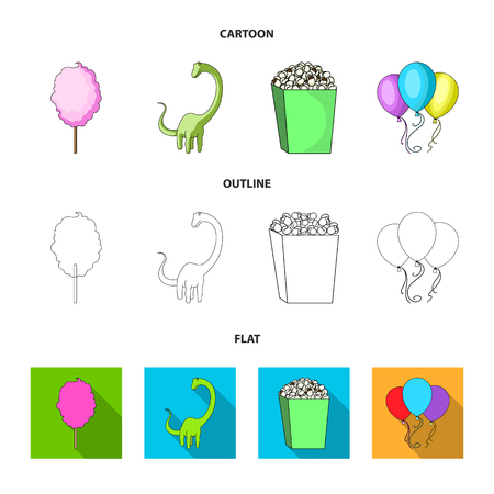 Sweet cotton wool on a stick, a toy dragon, popcorn in a box, colorful balloons on a string. Amusement park set collection icons in cartoon,outline,flat style bitmap symbol stock illustration . 免版税图像