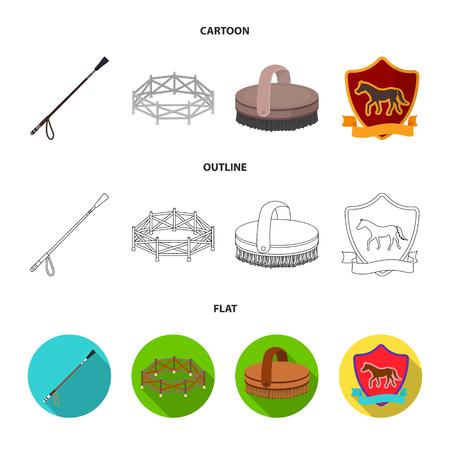 Aviary, whip, emblem, hippodrome .Hippodrome and horse set collection icons in cartoon,outline,flat style bitmap symbol stock illustration . Stock Photo