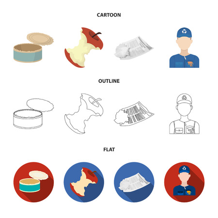 Can used used pot, apple stub, old dirty and wrinkled newspaper, the man who takes out the garbage.Garbage and trash set collection icons in cartoon,outline,flat style bitmap symbol stock illustration .