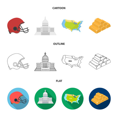 Football player helmet, capitol, territory map, gold and foreign exchange. USA country set collection icons in cartoon,outline,flat style bitmap symbol stock illustration .