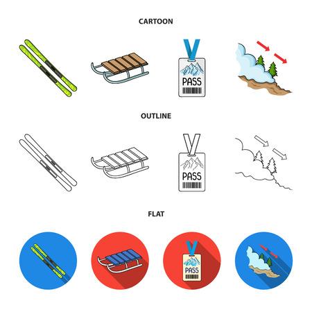 Ski, sled, lifeguard badge, badge avalanche. Ski resort set collection icons in cartoon,outline,flat style bitmap symbol stock illustration web.
