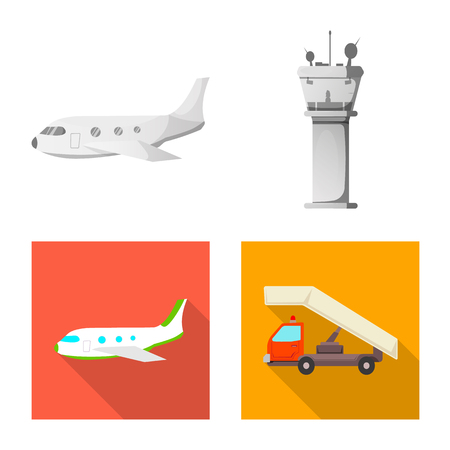 Vector illustration of airport and airplane logo. Set of airport and plane stock symbol for web. Logó