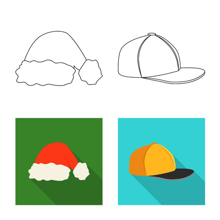 9dfd9c55fbc Vector illustration of headgear and cap sign. Collection of headgear and  accessory vector icon for
