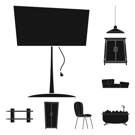Isolated object of furniture and apartment logo. Set of furniture and home vector icon for stock. 스톡 콘텐츠 - 109937401