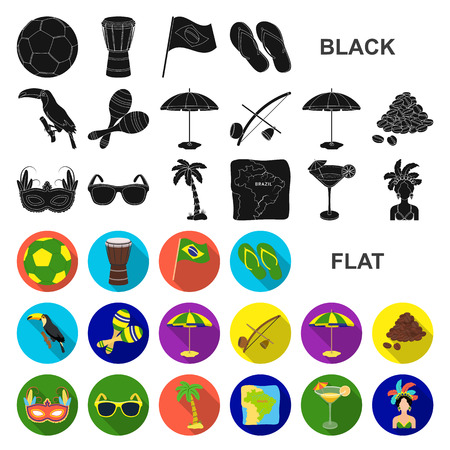 Country Brazil flat icons in set collection for design. Travel and attractions Brazil vector symbol stock web illustration. Vector Illustration