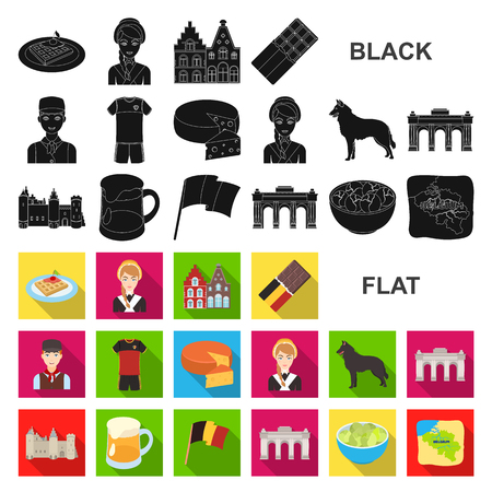 Country Belgium flat icons in set collection for design.Travel and attractions Belgium vector symbol stock web illustration.  イラスト・ベクター素材